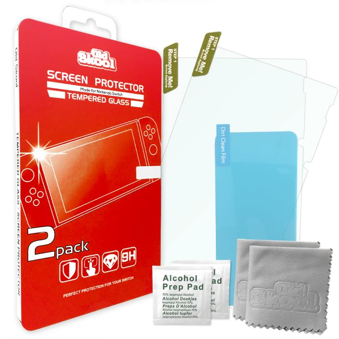Tempered Glass Screen Protector Guard 2-Pack for Nintendo Switch - Old Skool