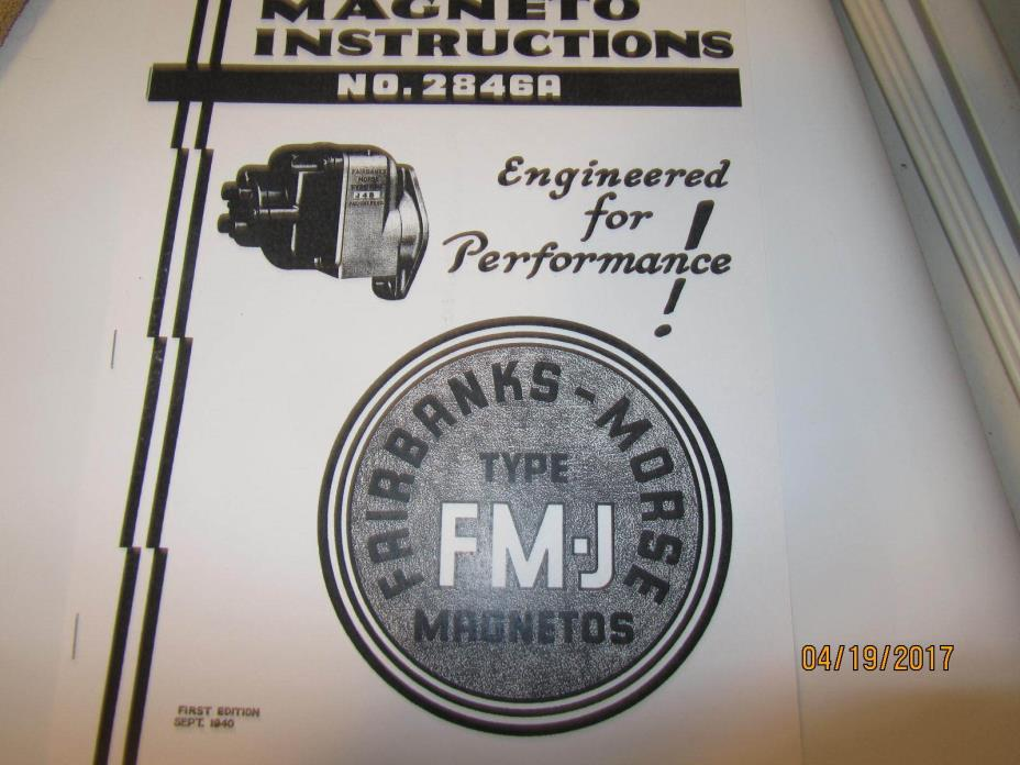 Fairbanks Morse  FM-J Magneto Repair Instructions/Parts