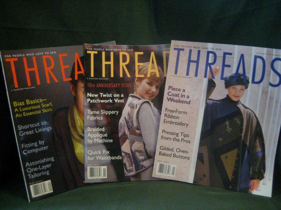 THREADS magazine vtg 95/96 back issue LOT S #60 61 62 couture sewing needlework