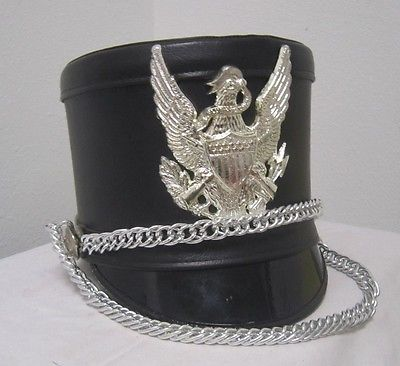 Fruhauf Uniforms MARCHING BAND HAT Black & Silver Size 7 1/8 NEW *