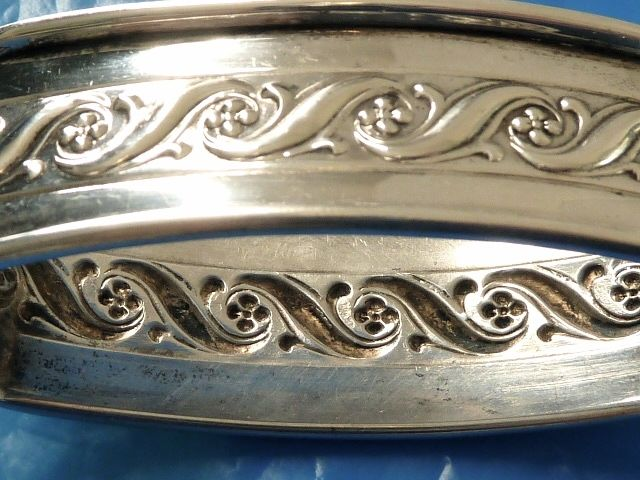 STERLING SILVER ANTIQUE EMBOSSED DESIGN RECTANGLE NAPKIN RING STERLING