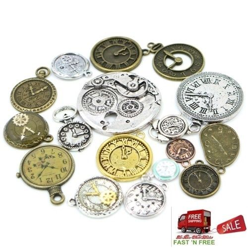 30 Antique Bronze Silver Clock Faces Mixed DIY Watch Jewelry Steampunk Pendants