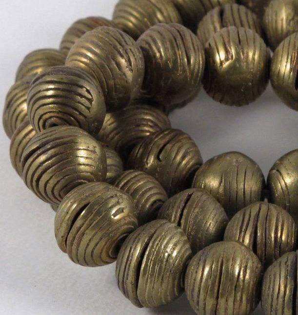 Heavy Brass Beads/ Vintage African Brass #1