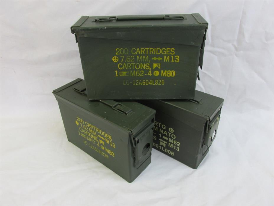 3 Pack 30 Cal Ammo Can Box  Army Military M19A1 Metal Storage 7.62 MM