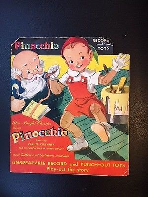 VINTAGE  1949 PINOCCHIO UNBREAKABLE RECORD AND PUNCH OUT TOY - RED VINYL 7