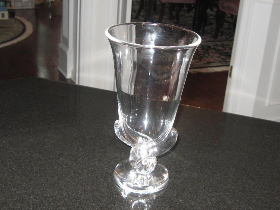ELEGANT LARGE SIGNED STEUBEN ART GLASS CRYSTAL SCROLLED BASE VASE