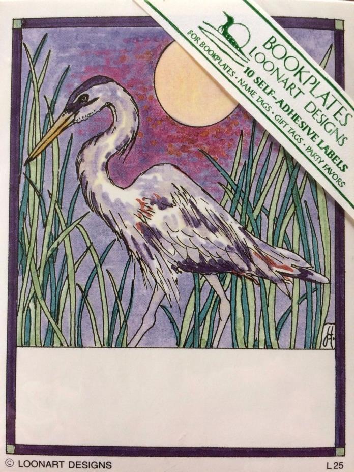 Bookplates Book Plates 10 Adhesive Labels Loonart Designs Blue Heron Bird