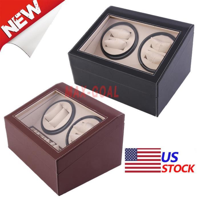 Leather Watch Winder Storage Auto Display Case Box 4+6 Automatic Rotation TimerW