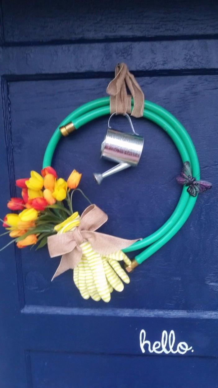 Garden Hose Wreath Spring Summer Mother's Day Floral Watering Can Gardener