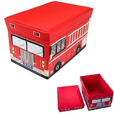 Kid Fire Truck Collapsible Toy Box Storage Organizer Cushion Top Bench Ottoman.