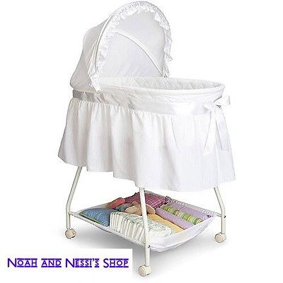 White Portable Baby Bassinet Infant Sleeper Nursery Newborn Crib Rocking Cradle