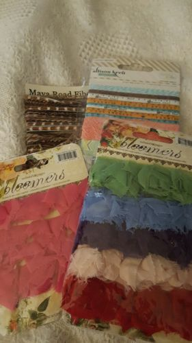Lot of 4-Scrapbook card making Fibers & ribbon trim-Listing is for 4 pkgs shown