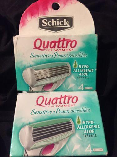 2 X Schick Quattro Women Aloe Sensitive 4-pack Razor Blade Refill Cartridges