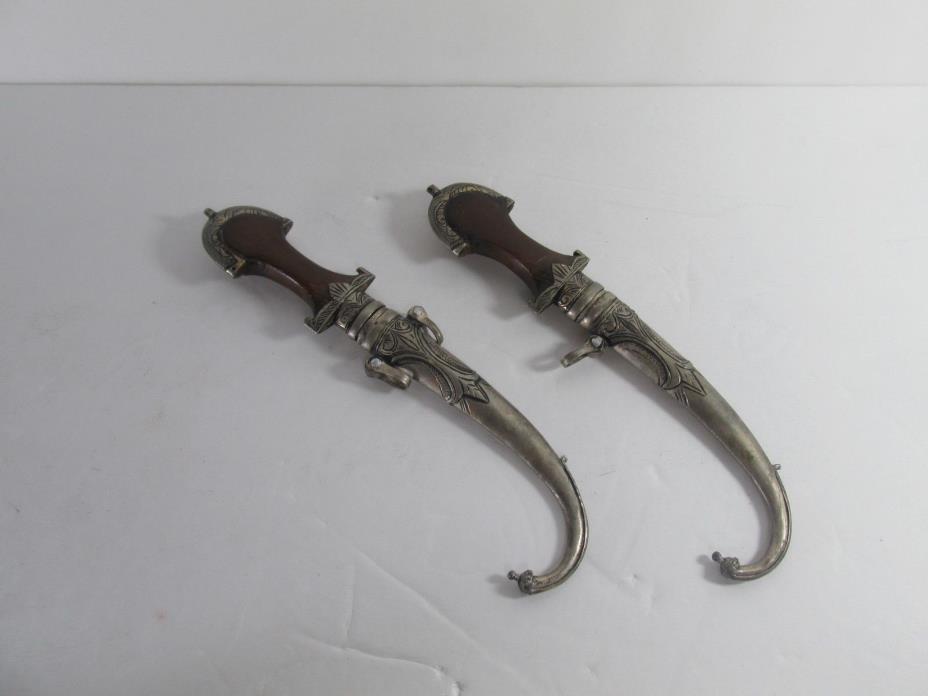 2 Antique Moroccan Handmade Koummya Daggers with Kindjal Wood Handles