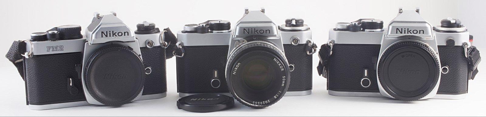 LOT OF 3 NIKON CAMERA FOR PARTS/REPAIR FM2N FE NIKKOR 50mm F/1.8 LENS