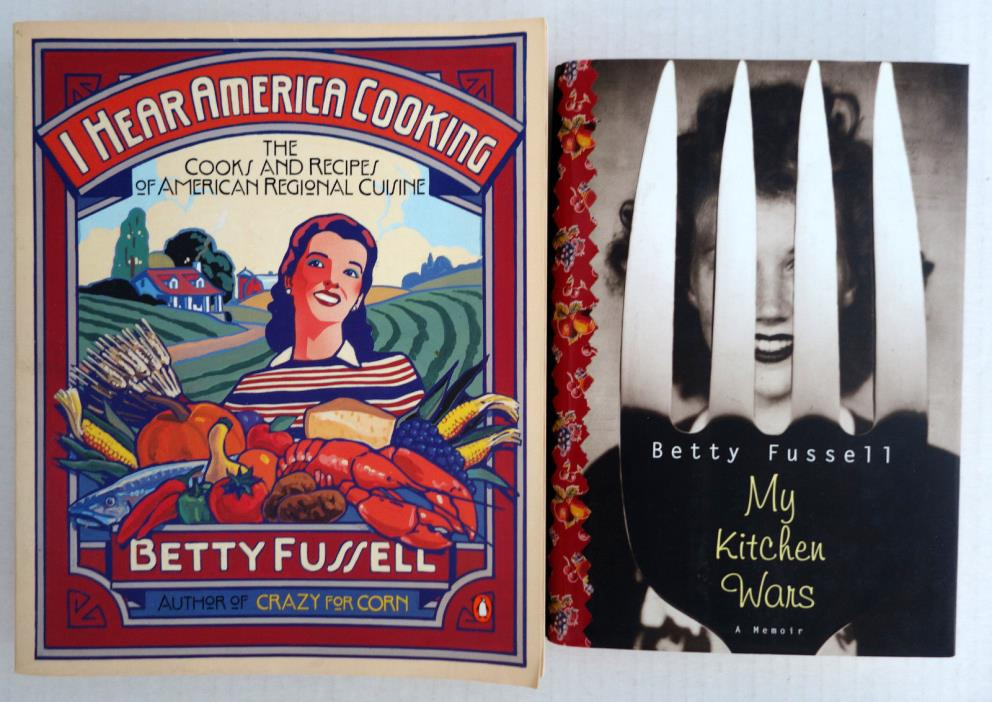 Lot 2 Betty Fussell: Hear America Cooking INSCRIBED PB ~~ Kitchen Wars HC/DJ