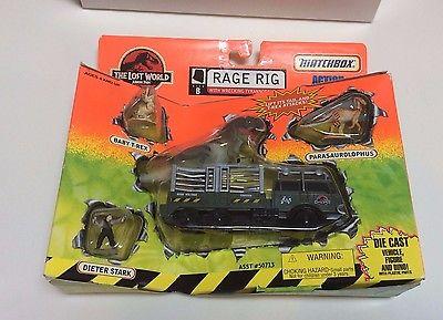 Matchbox 1996 Jurassic Park Lost World RAGE RIG Die-Cast Truck w/ Wrecking T-Rex