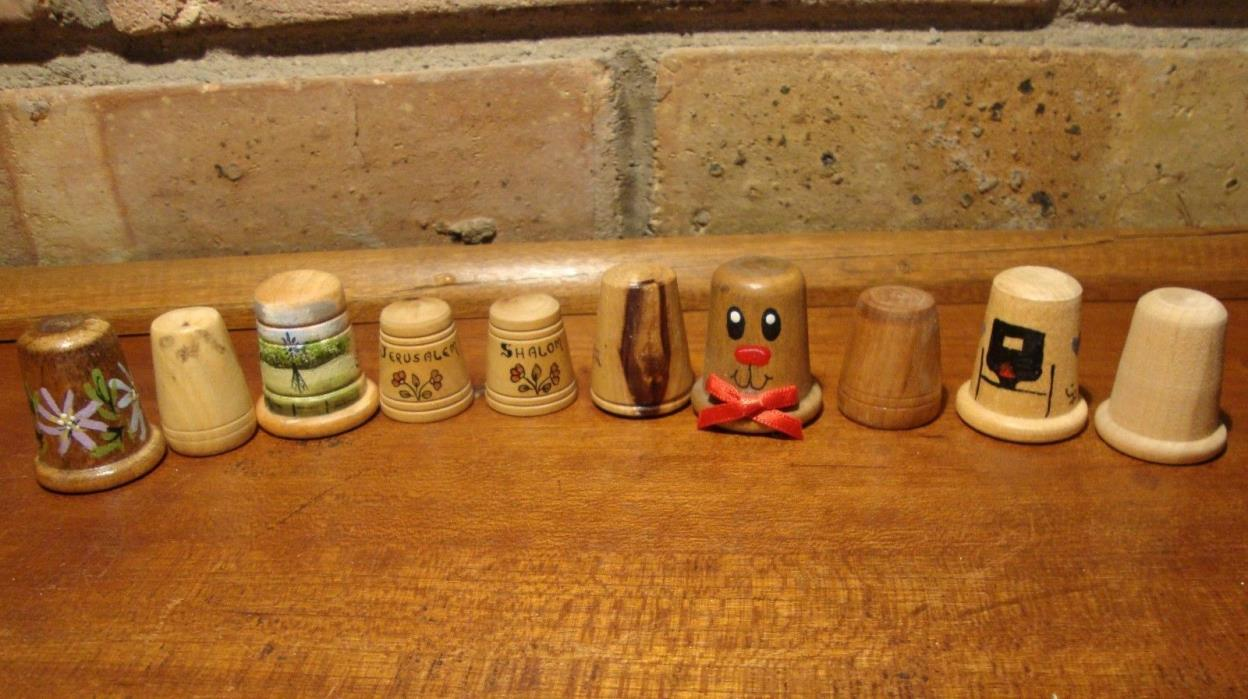 LOT OF TEN WOODEN THIMBLES - JERUSALEM AND SHALOM, AND OTHERS   THIMBLE