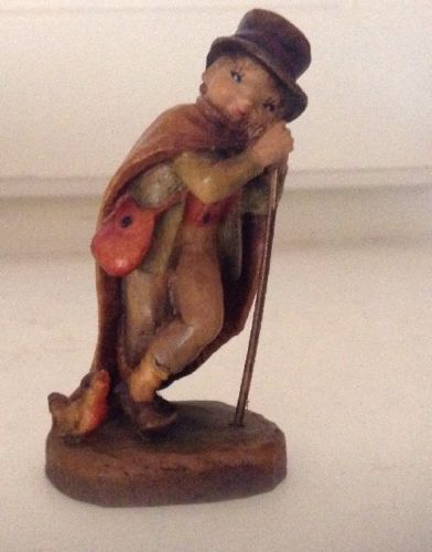 VINTAGE ANRI WOOD CARVED BOY WITH STAFF AND BIRD HAT & CLOAK ,SIGNED BASE