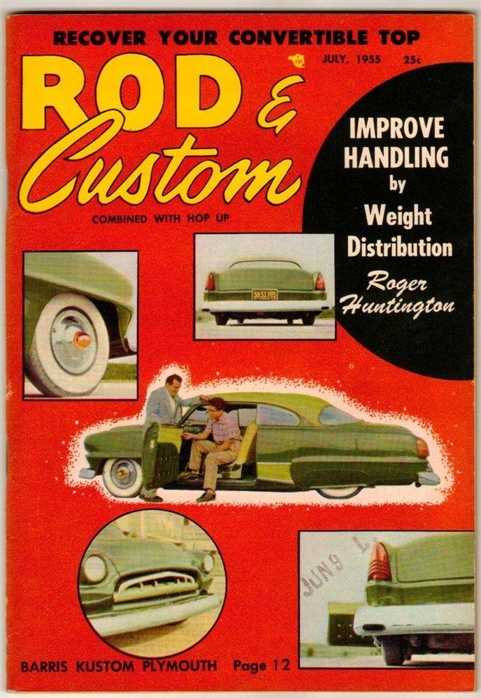 Rod & Custom Magazine 1955 Jul Old Vintage Classic Car Hot Rod Barris Plymouth