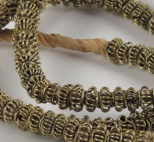 Wrapped Wire Beads/ Vintage African Brass