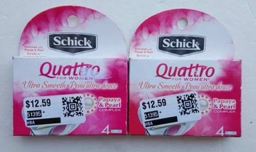 New 2 Packs of 4 Total 8 Schick Quattro Ultra Smooth Women's Shaving Cartridges