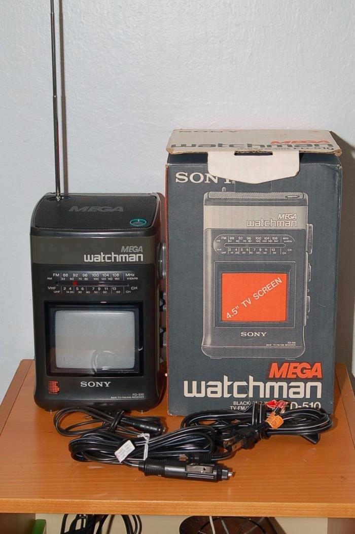 Sony Mega Watchman FD-510 Black & White TV Radio AM FM Walkman