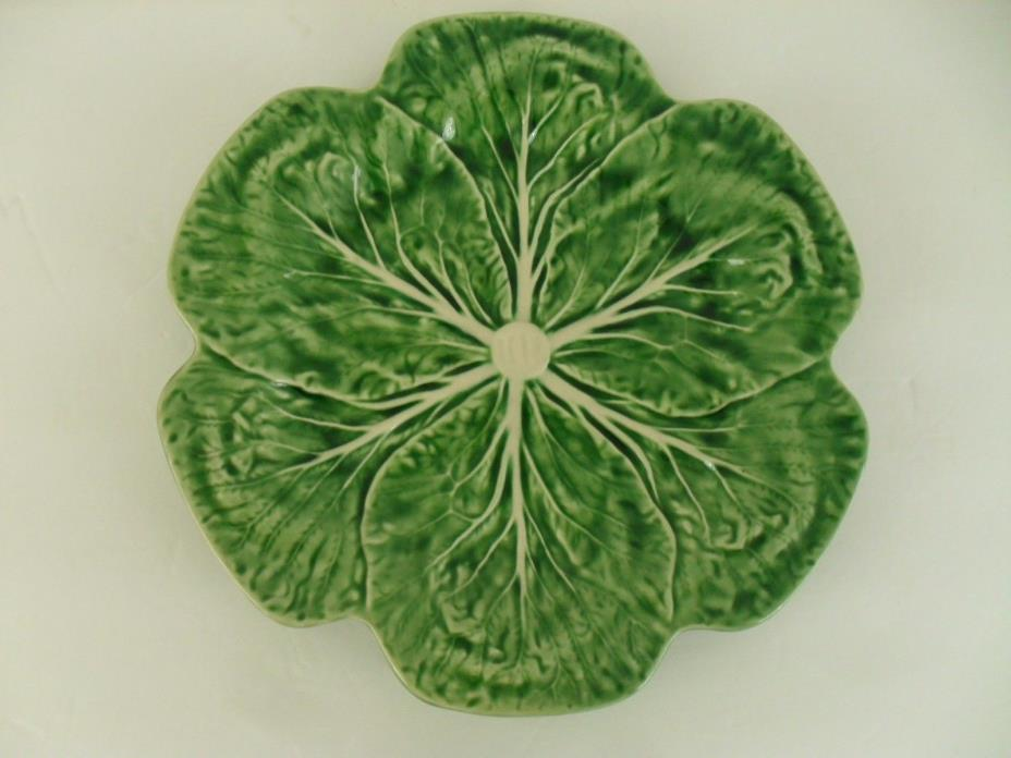 Bordallo Pinheiro Plate 12 Inch Dinner or Serving Green Cabbage Leaf Portugal