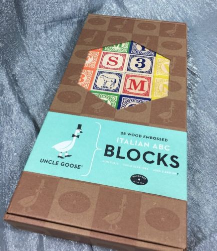 Uncle Goose Italian ABC Blocks Handmade in USA New In Box 28 Wood Non Toxic Ink