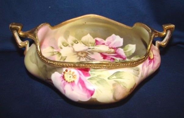 Noritake Nippon Blue Maple Leaf Mark Handled Bowl w/ Hand Painted Florals