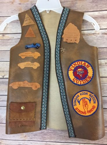 1970's YMCA Y-INDIAN GUIDES CHILD VEST With Patches & Pins Tonkawa
