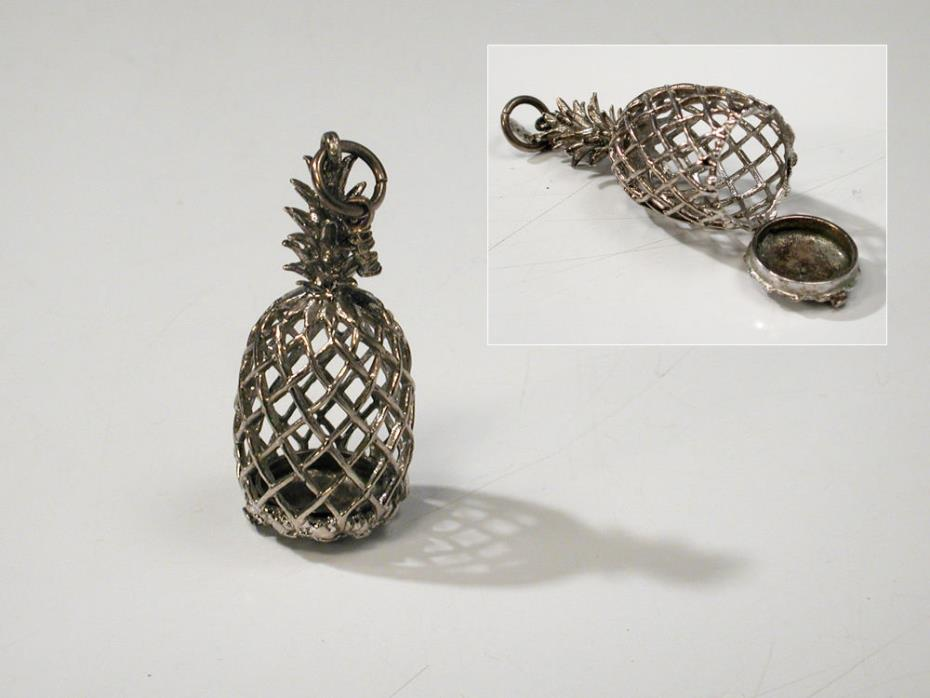 Sterling Silver Pineapple Cage Hinged Box Pendant for Pearl or Scent Holder