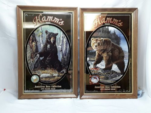 PAIR HAMM'S BEER AMERICAN BEAR COLLECTION MIRRORS 1992 and 1993 lot #2