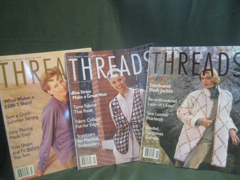 THREADS magazine vtg 1996 back issue LOT T #65 66 67 couture sewing needlework
