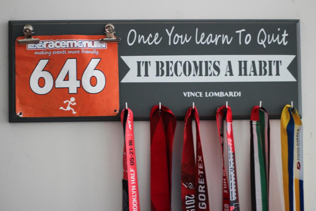 Gift For Runners - Running Medal Display Rack - Once You Learn To Quit - Gray