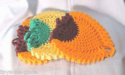 Knit pot holders heavy lot of 3 yellow orange acorn shaped 7