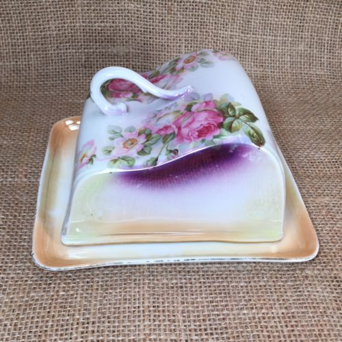 Antique IPF Germany Covered Dish Butter Plate Rose Floral Ilmenau Porcelain
