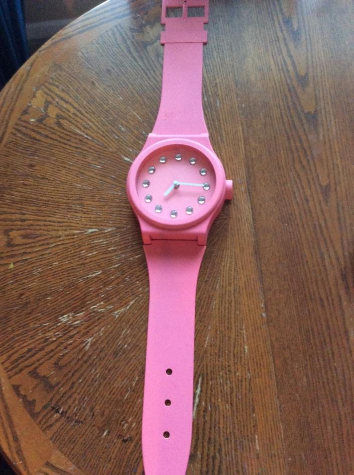 large pink wrist watch wall clock, barely used, excellent condition