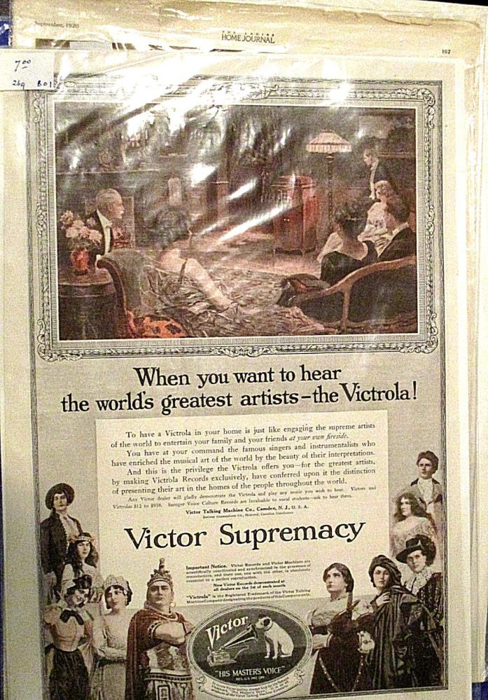 VICTOR SUPREMACY VICTROLA RECORDS MAGAZINE AD