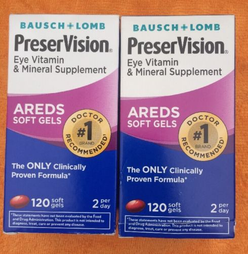 Lot Of Two Bausch + Lomb PreserVision, Soft Gels AREDS Soft Gels /fresh