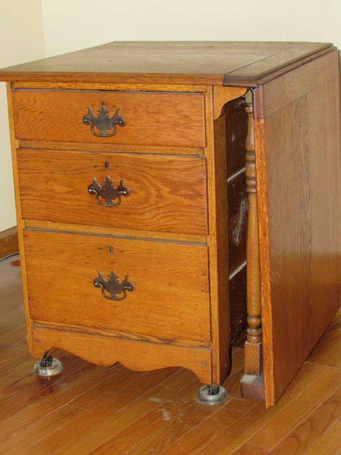 Antique  Oak Larkin  Sewing Cabinet w/ drop leaf  & 3 drawers