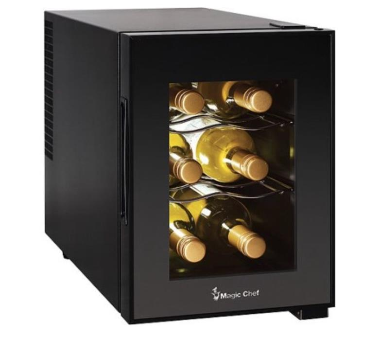Magic Chef 6-Bottle Wine Cooler Black Countertop Kitchen Bar Chiller New Beer 6