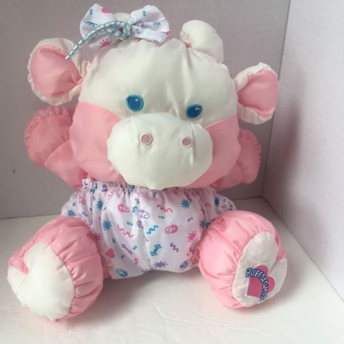 Vintage 1999 Fisher Price Puffalumps Cow Baby  Plush Toy Pink Heart 9