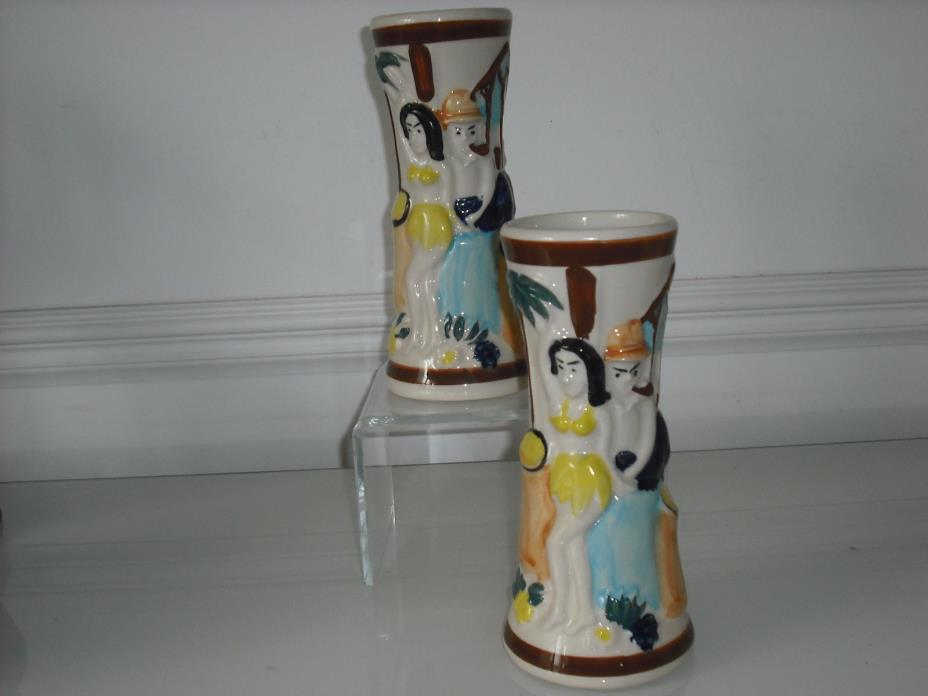 LOT OF 2 Trader Vic's 1984 Tiki Rum Mug Vase Unspeckled imperial imports NOS cu