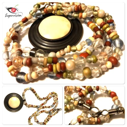 Vintage African Trade Glass Bead Stone Necklace Beautiful Rare 31