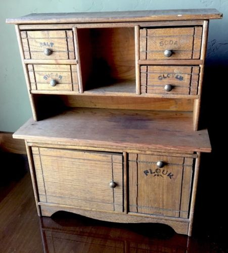 Oak antique doll Cass stepback kitchen cabinet