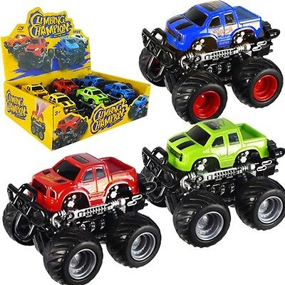 Friction Powered Monster Truck Toy Car Vehicle w/ Display Box (Pack of 6X)