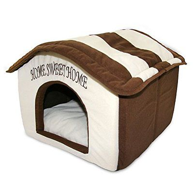 Best Pet Beds Supplies Home Sweet Home Bed, Beige with Brown Strips