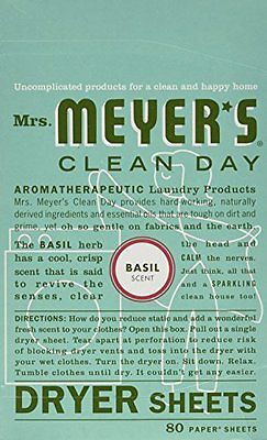 Mrs. Meyer's Clean Day Dryer Sheets, Basil, 80 Count