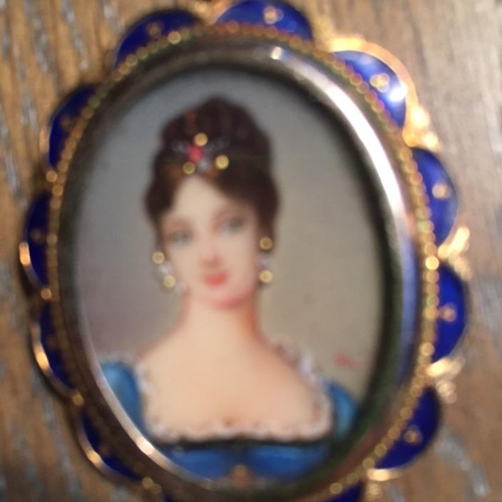 Vintage portrait pin converts to necklace of elegant Victorian/Edwardian lady